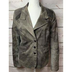 NWOT Yest Gray Suede With Corduroy Sides Blazer 12